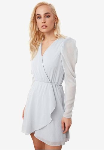 Trendyol grey Puffed Sleeve Wrap Dress CA20EAA2413A3BGS_1