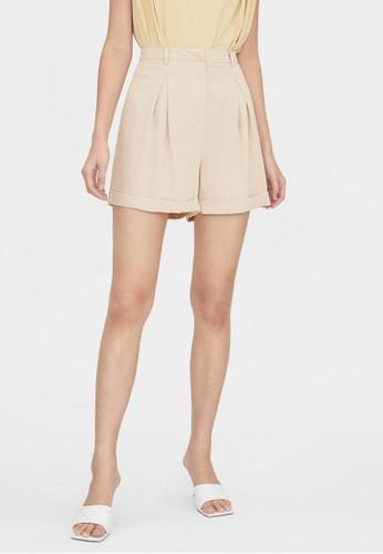 Pomelo multi Semi Pleated Shorts - Beige E6551AAAD9A63FGS_1