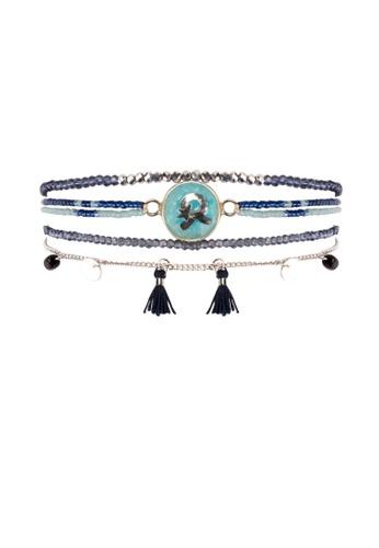 HIPANEMA blue and multi and silver Medium multi chains beaded Astro blue navy bracelet E4688AC623501AGS_1