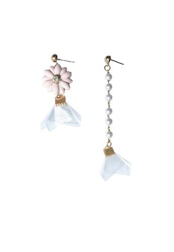 La Miina pink Renee Asymmetric Earrings 12F2EACB397B7BGS_1