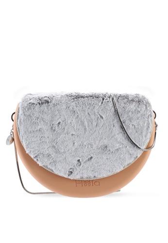 Hoola Hoola orange Chiara Saddle - Nude Coral  White Fur & Snake Chain 8F91BAC6547120GS_1