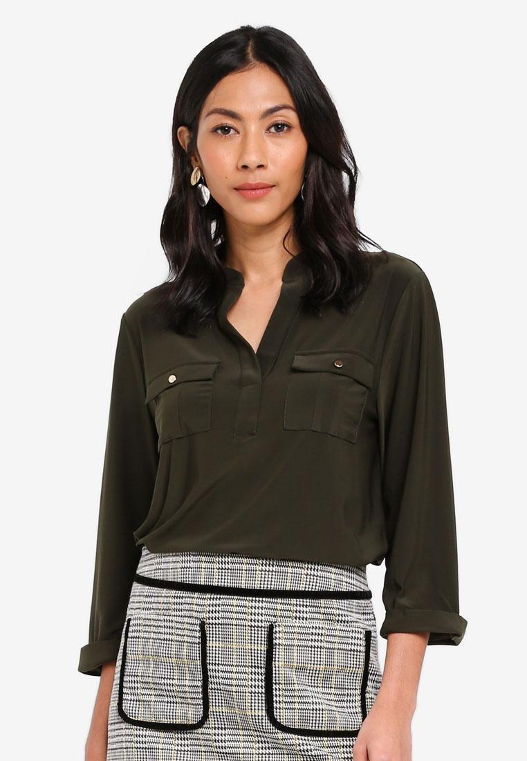 Dorothy Green Khaki Shirt Perkins Utility gpnWCPUnx
