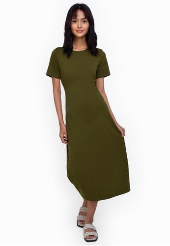 ZALORA BASICS green Back Cut Out Midi Dress F88B6AA56E4F3BGS_1