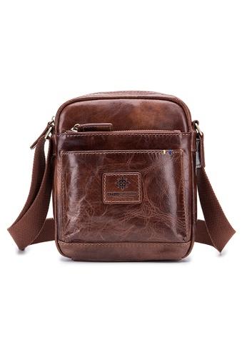 ENZODESIGN brown ENZODESIGN Buffalo Leather Mini Cross Body Shoulder Bag 48F8EACF1F8B56GS_1