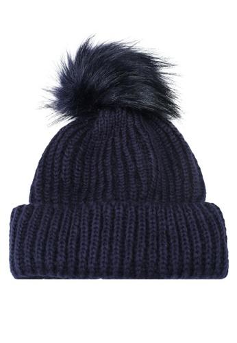TOPSHOP navy Tip Faux Fur Pom Pom Beanie Hat 4A0A5ACB303628GS 1 f72fd965d08