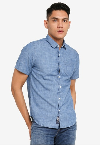Superdry blue Loom Short Sleeve Shirt 55B5FAA6C029CFGS_1