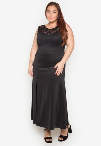 Ashley Collection Plus black Plus Size Ashley Lace Insert Maxi Dress AS083AA0JW0FPH_1