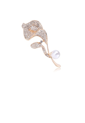 Glamorousky white Fashion and Elegant Plated Gold Flower Imitation Pearl Brooch with Cubic Zirconia 267ACAC6A630ADGS_1
