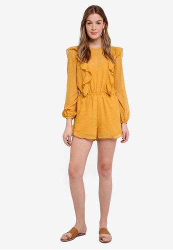 The Fifth Label yellow Rhythm Long Sleeve Playsuit FDB3EAAB4FA8BCGS_1