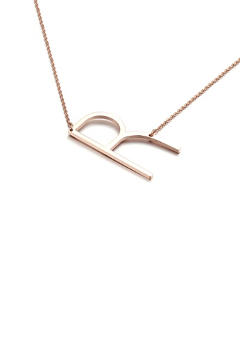 Glamorousky silver Fashion Simple Plated Rose Gold English Alphabet R 316L Stainless Steel Pendant with Necklace 5277BAC0D25BAEGS_1