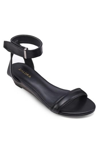ZALORA black Ankle Strap Wedge Sandals 9DBE7SH48189F3GS_1
