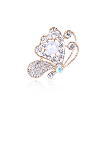 Glamorousky white Fashion Bright Plated Gold Butterfly Imitation Pearl Brooch with Cubic Zircon 9FD2FAC2CACBACGS_1
