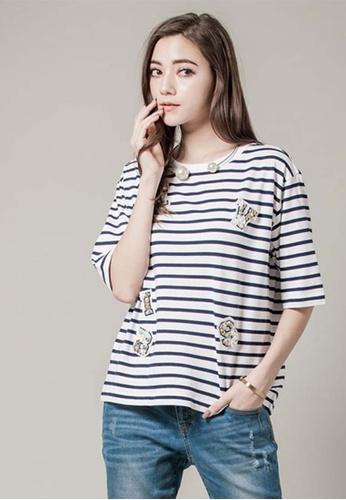 H:CONNECT beige Fun Badge Striped T- Shirt A065DAAB25E83BGS_1