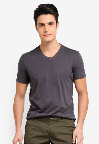 Sisley 灰色 V領素面短袖T恤 AFE0FAA66CA3B8GS_1