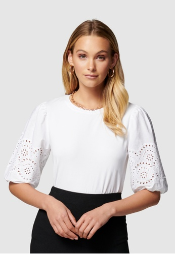 Forever New white Belle Broderie Woven Sleeve Tee 30FC8AA7829195GS_1