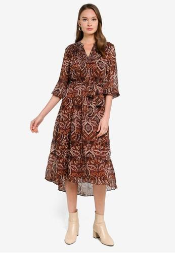 FORCAST brown Kaia Tie Waist Paisley Dress 0566CAA46D41D7GS_1