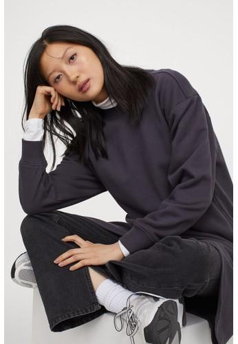 H&M grey Wrap-detail sweatshirt dress AF476AA33909F0GS_1