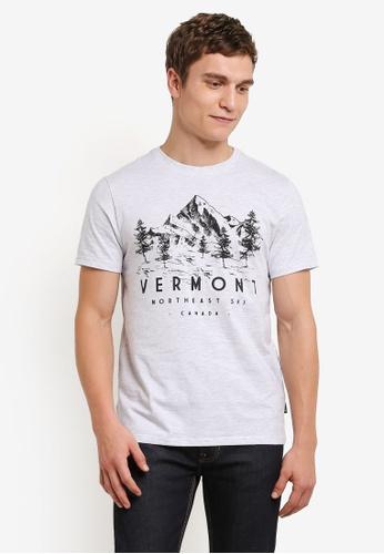 Burton Menswear London white White Vermont Print T-Shirt BU964AA0S5MMMY_1