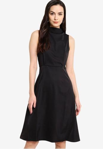 ZALORA WORK 黑色 高領及膝洋裝 0A52DAAC7F995CGS_1