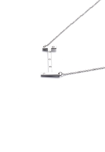 Glamorousky white Simple Personality English Alphabet I 316L Stainless Steel Pendant with Cubic Zirconia and Necklace 11B48ACD76CA90GS_1