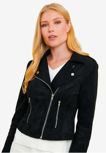 FORCAST black Kirsty Faux Suede Jacket A3381AA71ABF8AGS_1