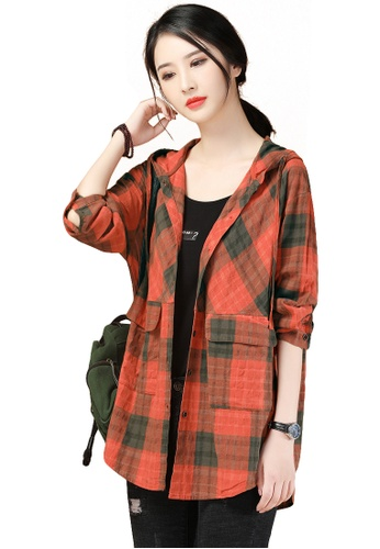 A-IN GIRLS multi Loose Checkered Hooded Shirt Jacket 580E1AA2EC4A2EGS_1