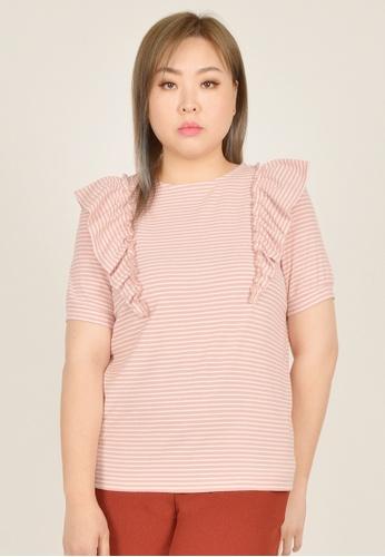 Cheetah pink Arissa Plus Size Short Sleeve Ruffle Top - ARS-9630 2D688AADEAF965GS_1