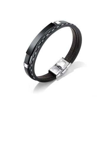 Glamorousky silver Simple Punk 316L Stainless Steel Black Geometric Rectangular Leather Bracelet F909BAC9F5D77DGS_1