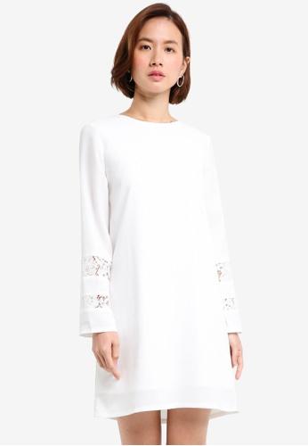 ZALORA white Lace Insert Shift Dress 4F45CAA3A61ABAGS_1