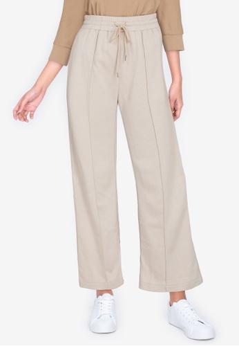 ZALORA BASICS beige Wide Leg Jogger Pants F5216AA3473DA7GS_1