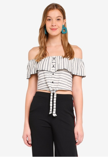 Miss Selfridge blue Striped Button Frill Bardot Crop Top B2BA9AA0203EC9GS_1