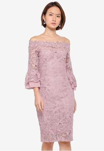 Paper Dolls purple Crochet Lace Chiffon Flute Sleeve Bardot Dress 28612AAABF444FGS_1