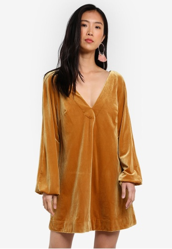 Free People gold Misha Mini Dress FR659AA0RWNIMY_1