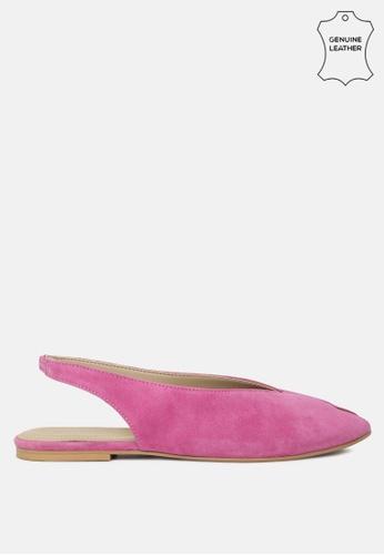 RAG & CO 粉紅色 皮革面料可调扣平底凉鞋 93297SHB18D62BGS_1