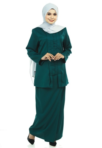 Ashura green Jahanara Kutu Baru With Front Pleated Skirt B32F9AA7896C96GS_1