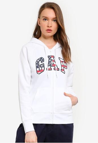 GAP white Logo Flag Zip Hoodie A59FBAA6F3A106GS_1