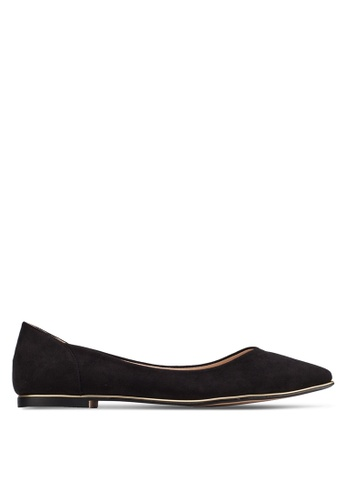ZALORA black Pointed Ballerinas with Metal Trimmings ABWGSSH0000077GS_1
