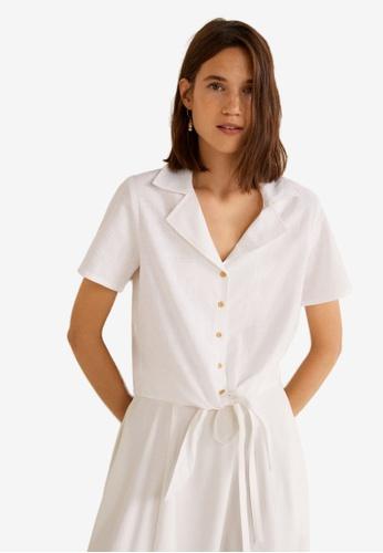 Mango white Knot Cotton Shirt 06038AA20B2D38GS_1