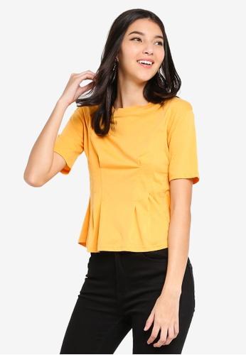 ZALORA 黃色 褶飾T恤 8EBD8AA42A6429GS_1