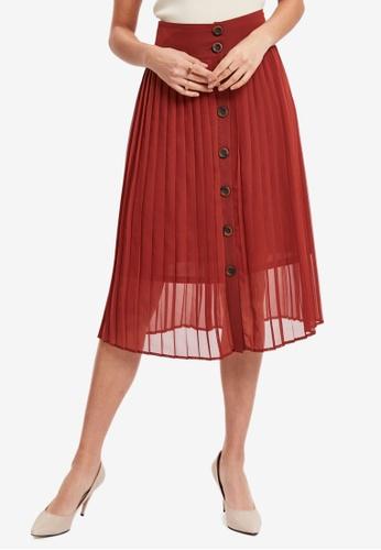 LC WAIKIKI orange Pleated Chiffon Skirt 002C1AA1073E59GS_1