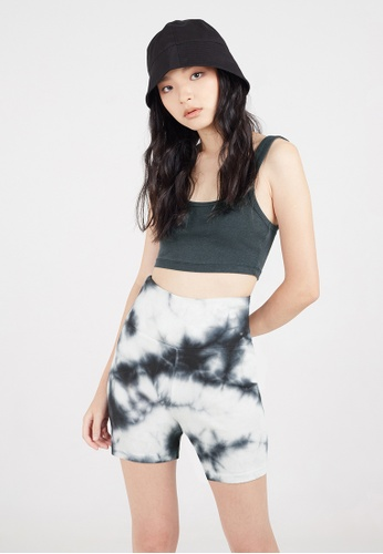 Gen Woo black and white and multi Sausage Dye Rib Shorts by Gen Woo C120BAAA79A5D3GS_1