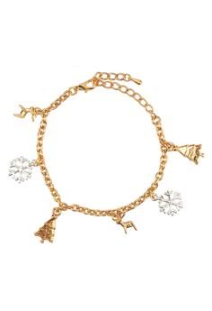 Reindeer, Snowflake and Xmas Tree Charm Bracelet
