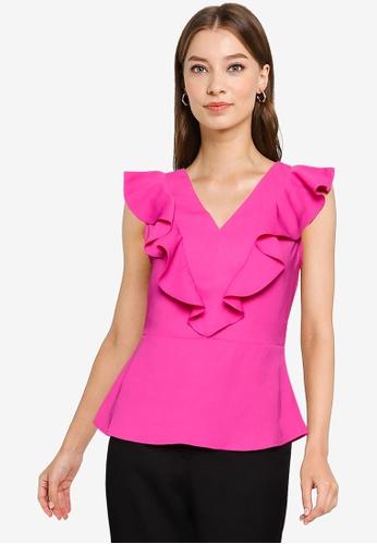 ZALORA WORK pink Frill Detail Top 92238AA99E4B5FGS_1