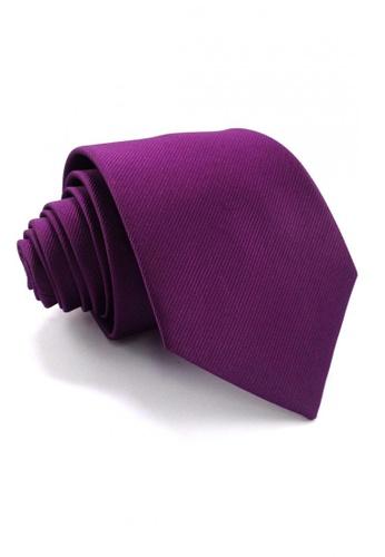 Tieline purple Standard Microfiber Solid Textured Necktie TI886AC69UPEPH_1