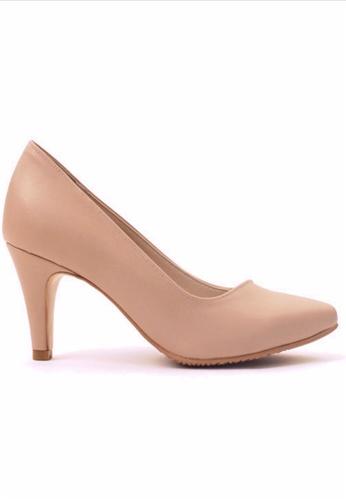 Crystal Korea Fashion 米褐色 韓國製新款小尖頭高跟鞋 CR681SH44SUXHK_1