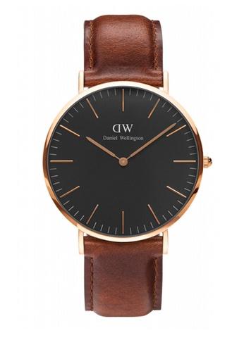 Daniel Wellington gold and brown Classic Black St Mawes Watch 40mm DA376AC91NBCMY_1