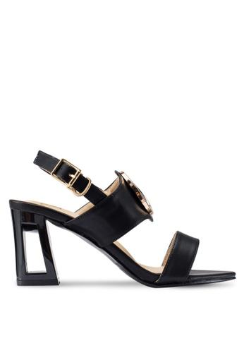 Berrybenka 黑色 高跟金屬環涼鞋 D7175SH304D534GS_1