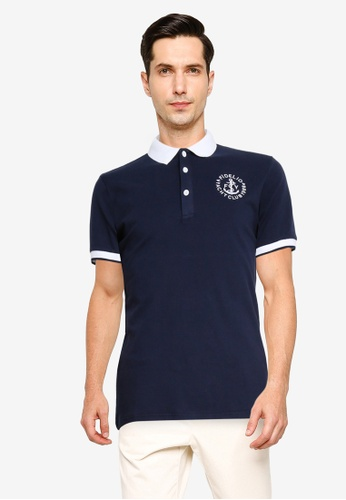 Fidelio navy Contrasted Collar Embroidery Polo Shirt C015CAA3FC34B0GS_1