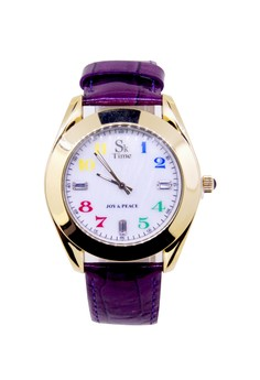 Sk Time Japan Design Yellow Gold Plating Fashion Cow Leather Watch