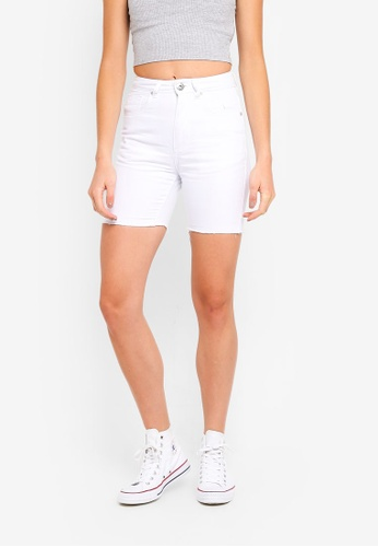 Factorie white Long Cut Off Denim Shorts 072E4AAE1DCFABGS_1